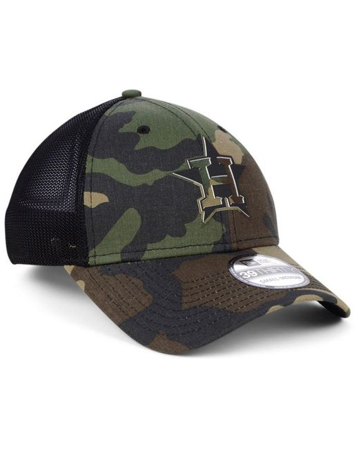 huge discount a7b83 b5758 ... KTZ - Black Houston Astros Camo Trucker 39thirty Cap for Men - Lyst ...