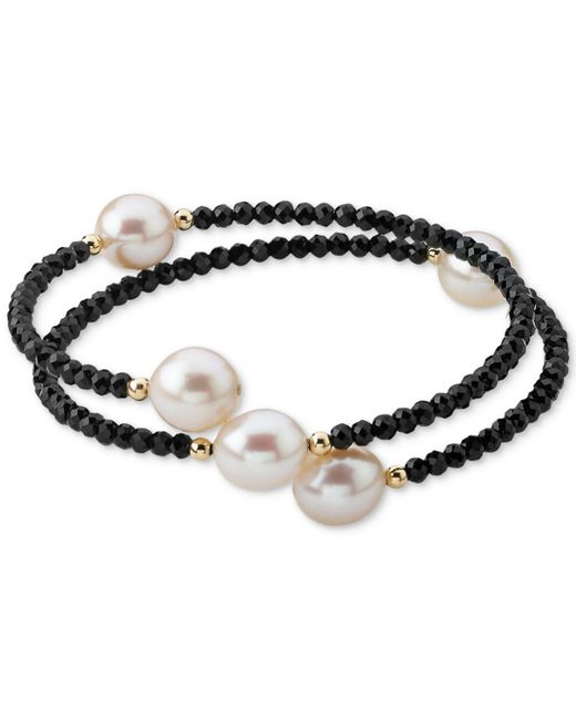 Macy's - Metallic Cultured Freshwater Pearl (10mm) & Lapis Lazuli (3mm) Wrap Bracelet In 14k Gold (also Black Spinel) - Lyst