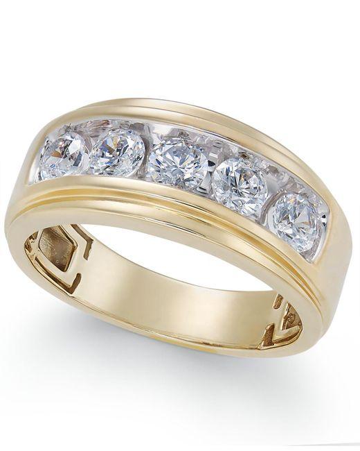 Macy's   Metallic Men's Diamond Five-stone Ring (1-1/2 Ct. T.w.) In 10k Gold   Lyst