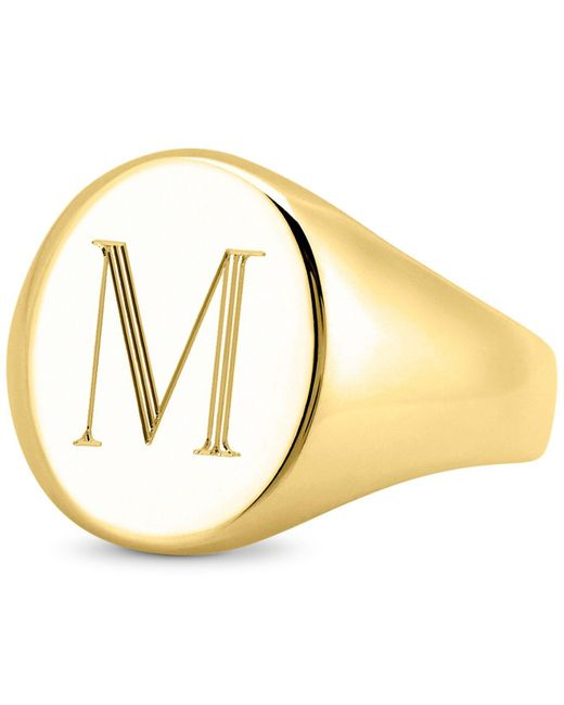 Sarah Chloe Metallic Initial Signet Ring In 14k Gold-plated Sterling Silver