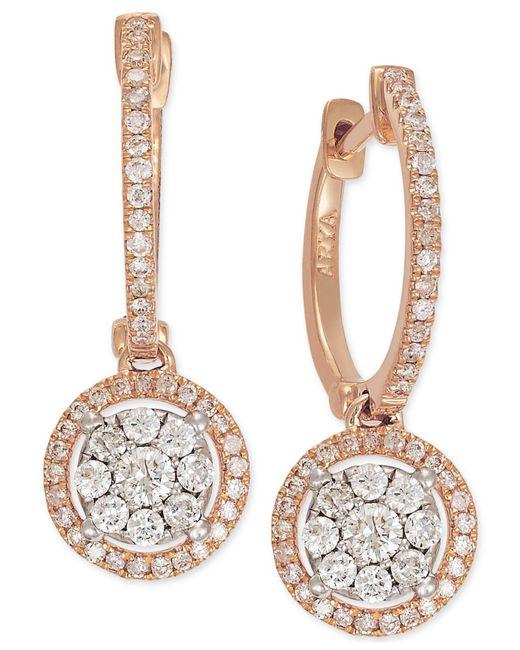 Macy's - Metallic Diamond Circle Drop Earrings In 14k Rose Gold (5/8 Ct. T.w.) - Lyst