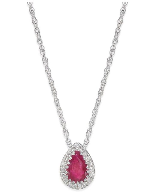 Macy's | Metallic Ruby (3/8 Ct. T.w.) And Diamond Accent Pendant Necklace In 14k White Gold. | Lyst