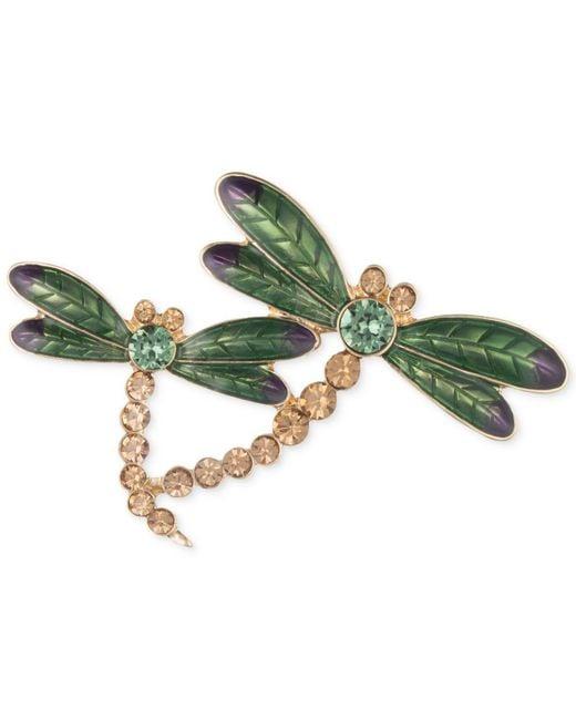 Anne Klein - Green Gold-tone Dragonfly Pin - Lyst