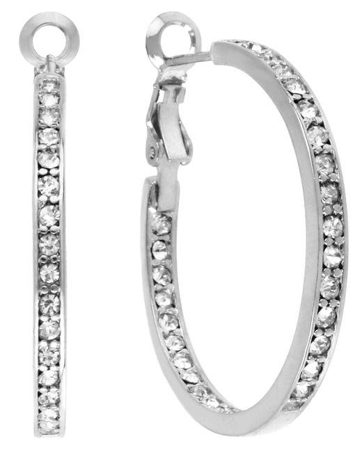 Touch Of Silver | Metallic Crystal Hoop Earrings | Lyst