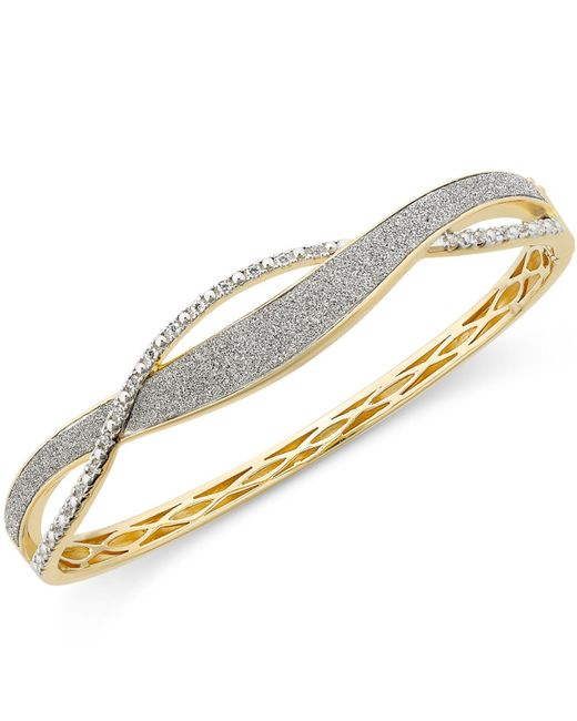 Macy's - Metallic Diamond Glitter Twist Bracelet (1/4 Ct. T.w.) In 18k Gold-plated Sterling Silver - Lyst