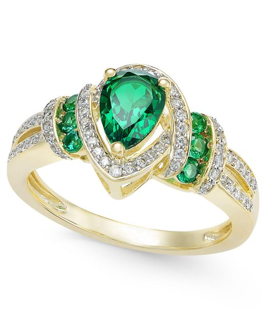 Macy's - Green Certified Ruby (1 Ct. T.w.) And Diamond (1/4 Ct. T.w.) Ring In 14k Gold - Lyst