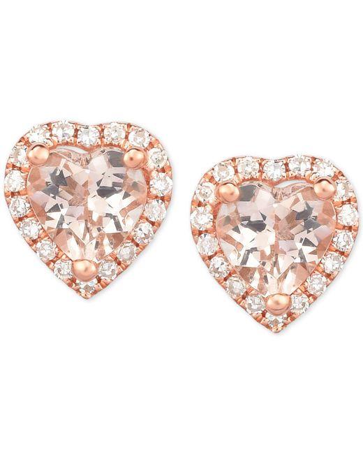 Macy's - Pink Morganite (3/4 Ct. T.w.) & Diamond (1/8 Ct. T.w.) Heart Stud Earrings In 14k Rose Gold - Lyst