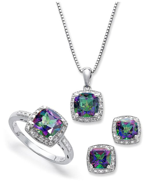 Macy's | Blue Sterling Silver Jewelry Set, Mystic Topaz (4-3/4 Ct. T.w.) And Diamond Accent Necklace, Earrings And Ring Set | Lyst