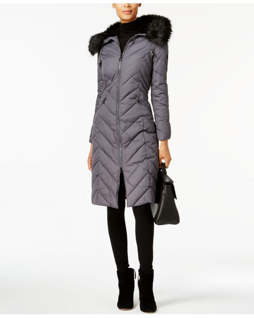 Laundry by Shelli Segal - Gray Faux-fur-trim Long Puffer Coat - Lyst