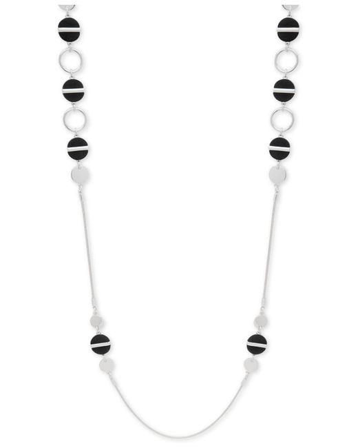 Nine West | Black Silver-tone Colored Disc Strand Necklace | Lyst