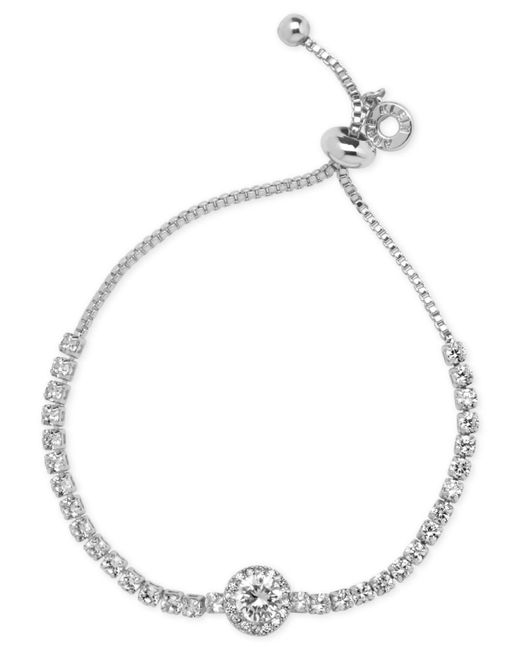 Anne Klein - Metallic Silver-tone Multi-crystal Slider Bracelet - Lyst