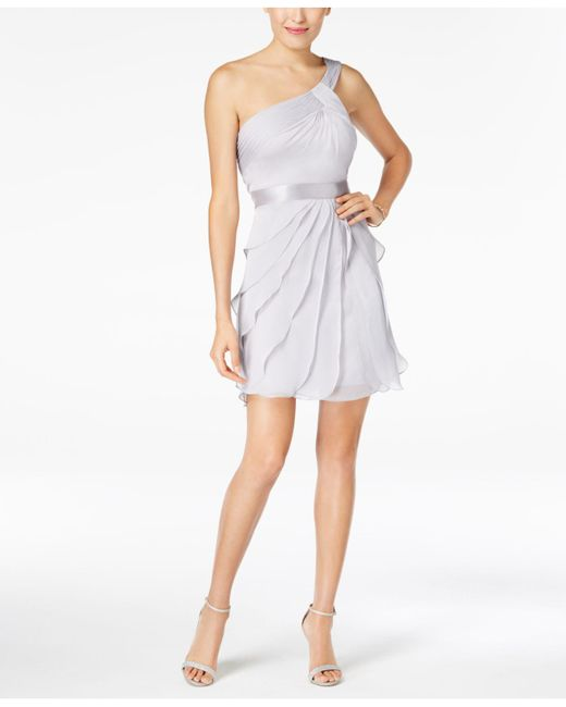 Adrianna Papell - Metallic One-shoulder Tiered Chiffon Dress - Lyst