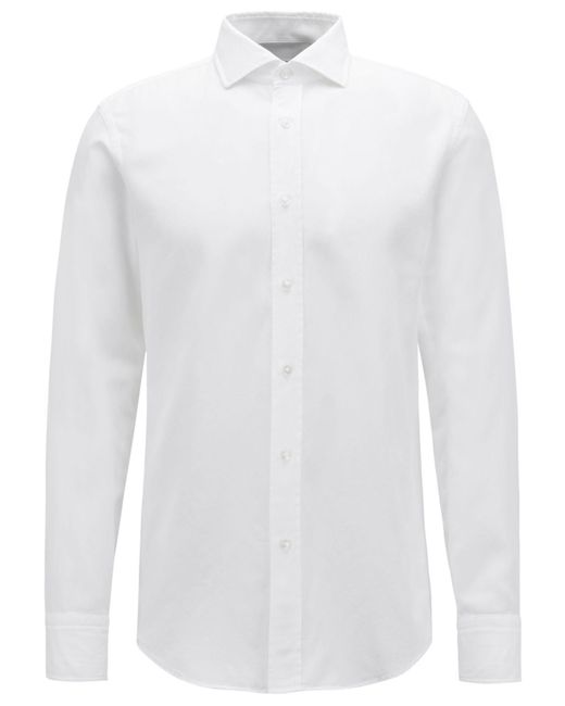 BOSS - White Slim-fit Pleated Cotton Shirt for Men - Lyst