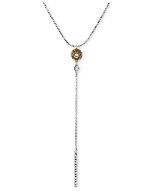 Lucky Brand - Metallic Two-tone Imitation Pearl Lariat Necklace - Lyst