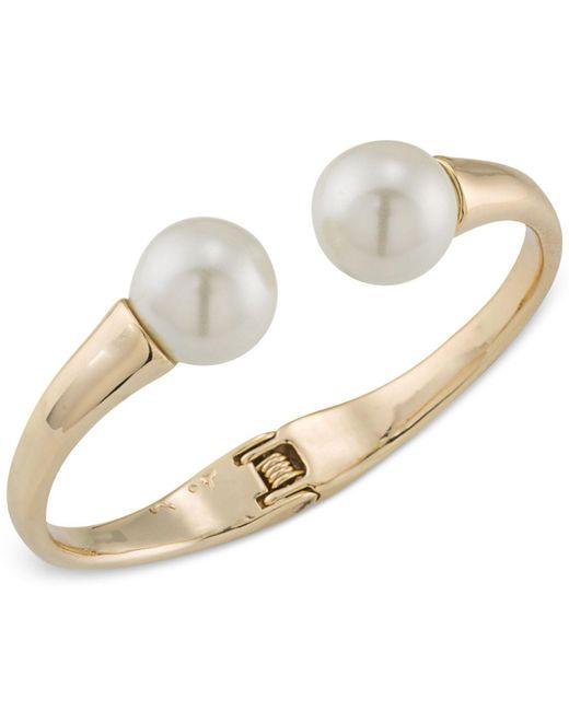 Trina Turk   Metallic Gold-tone Imitation Pearl Hinged Cuff Bracelet   Lyst