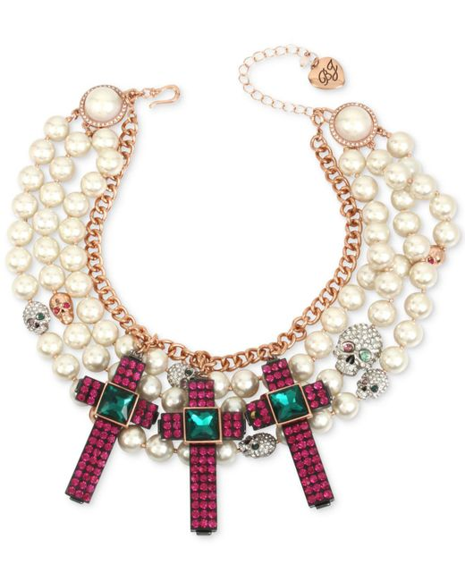 Betsey Johnson | Multicolor Two-tone Multi-stone Skull, Cross & Imitation Pearl Statement Necklace | Lyst