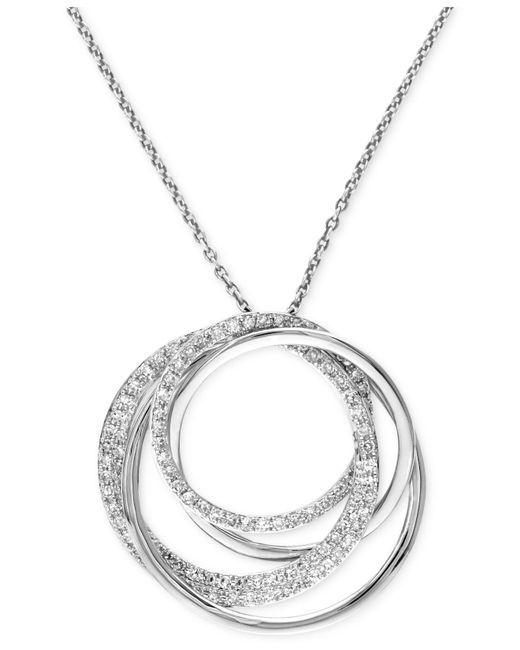 Effy Collection - Metallic Diamond Circle Pendant Necklace (3/8 Ct. T.w.) In 14k White Gold - Lyst