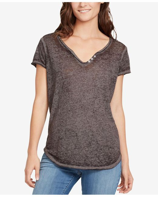William Rast - Gray Cooper Button-trim T-shirt - Lyst