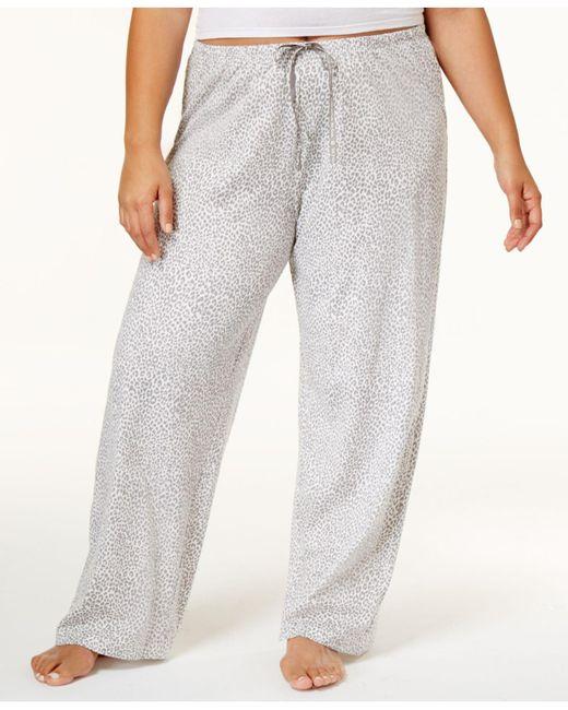 Hue | Gray Plus Size Rita Cheetah Cotton Pajama Pants | Lyst