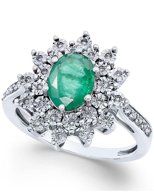Macy's | Green Emerald (1-1/5 Ct. T.w.) And Diamond (1/5 Ct. T.w.) Ring In 14k White Gold | Lyst