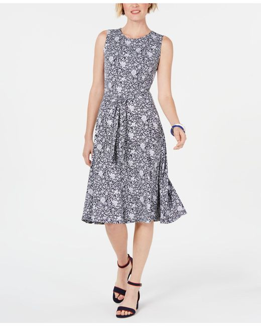 Charter Club Blue Petite Belted Midi Dress, Created For Macy's