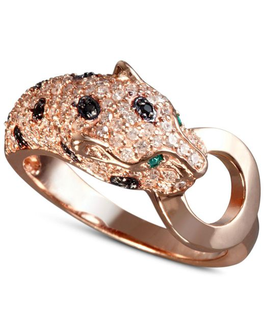 Effy Collection | Metallic White And Black Diamond (5/8 Ct. T.w.) And Emerald Accent Panther Ring In 14k Rose Gold | Lyst