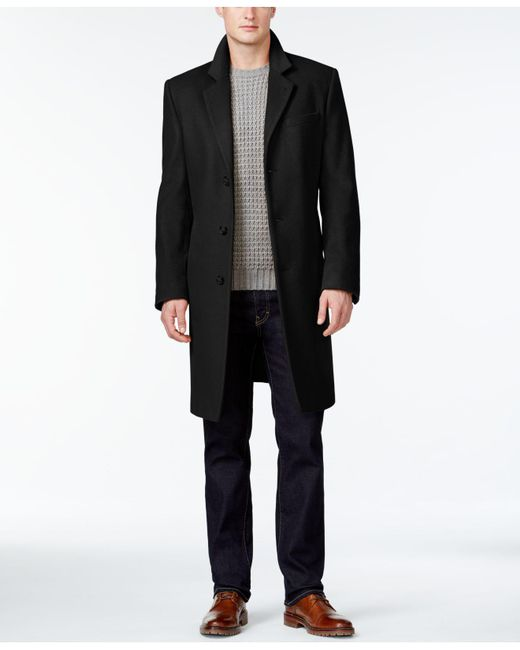 Michael Kors | Black Coat, Slim-fit Madison Cashmere-blend Overcoat for Men | Lyst