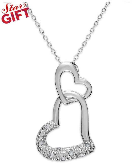 Macy's | Metallic Sterling Silver Diamond Double Heart Pendant Necklace (1/10 Ct. T.w.) | Lyst