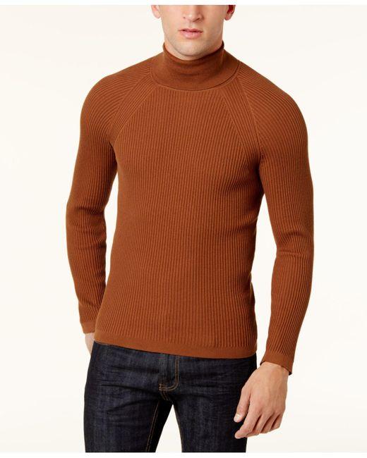 INC International Concepts | Brown Men's Ribbed Turtleneck Sweater for Men | Lyst