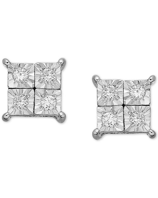 Macy's - Metallic Diamond Accent Square Earrings In 14k White Gold - Lyst