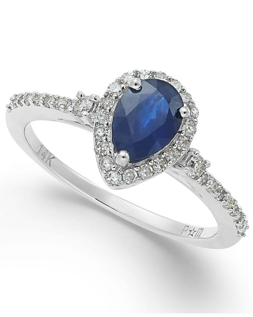 Macy's - Blue Sapphire (7/8 Ct. T.w.) And Diamond (1/4 Ct. T.w.) Ring In 14k White Gold - Lyst
