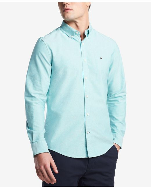 Tommy Hilfiger - Green Custom Fit New England Solid Oxford Shirt, Created For Macy's for Men - Lyst