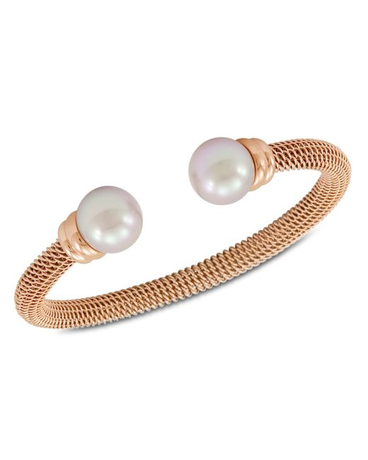 Majorica | White Bracelet, Organic Man Made Pearl And Rose Gold-tone Stainless Steel Bangle Bracelet | Lyst