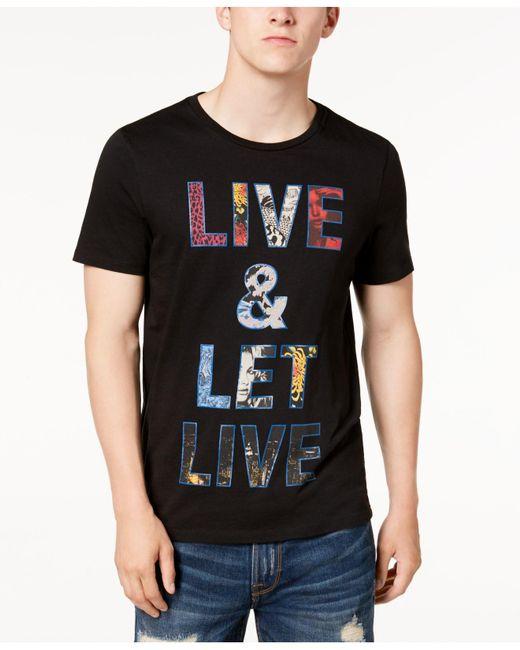 Guess - Black Let Live Graphic-print T-shirt for Men - Lyst