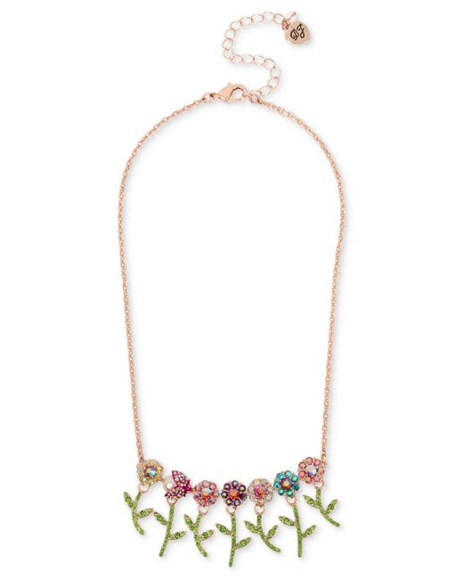 "Betsey Johnson - Pink Rose Gold-tone Crystal Flower & Beetle Statement Necklace, 15-1/2"" + 3"" Extender - Lyst"