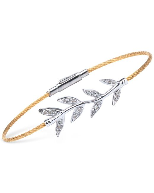 Charriol | Multicolor Women's Laetitia White Topaz-accent Leaves Two-tone Pvd Stainless Steel Bendable Cable Bangle Bracelet 04-421-1222-2 | Lyst
