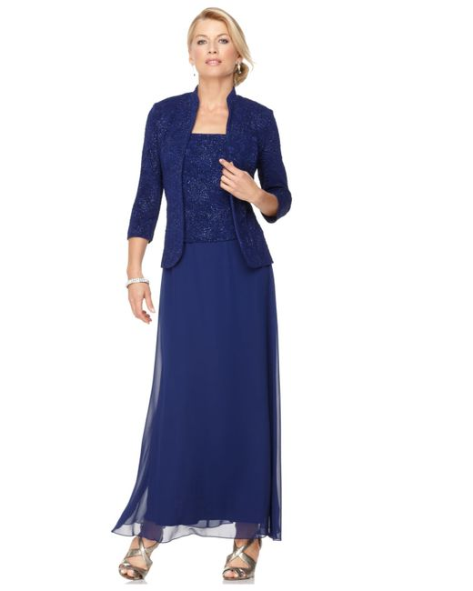 Alex Evenings | Blue Dress And Jacket, Sleeveless Jacquard Sparkle Evening Gown | Lyst