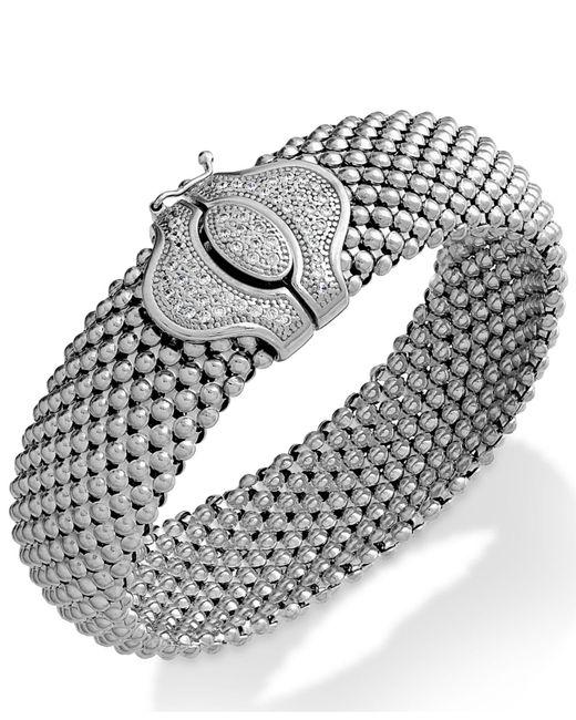 Macy's Metallic Diamond Textured Bracelet In Sterling Silver (1/2 Ct. T.w.)
