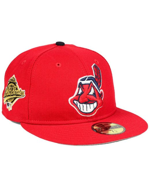 purchase cheap b5f9d 40cf6 Men's Red Cleveland Indians Retro World Series Patch 59fifty Fitted Cap