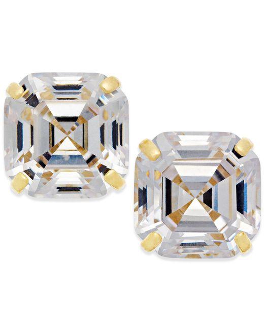 Macy's - Metallic Cubic Zirconia Stud Earrings In 10k Gold - Lyst