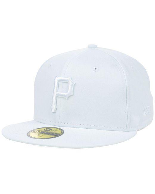 KTZ - Pittsburgh Pirates White-on-white 59fifty Cap for Men - Lyst