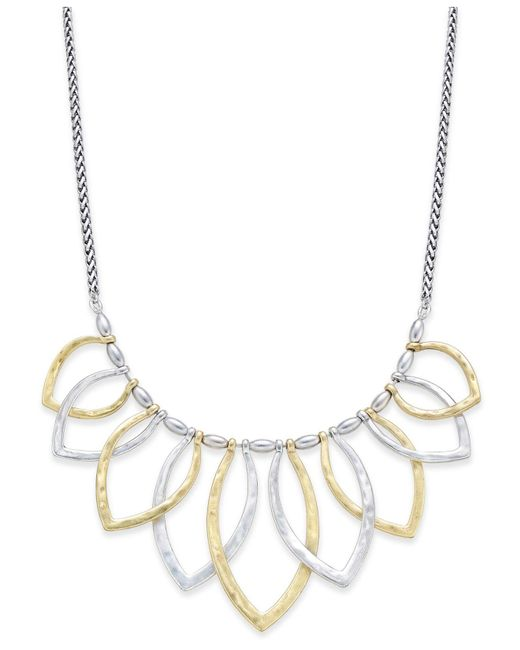 Lucky Brand - Metallic Two-tone Petal Statement Necklace - Lyst