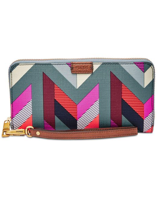 Fossil - Multicolor Emma Large Zip Clutch Wallet - Lyst