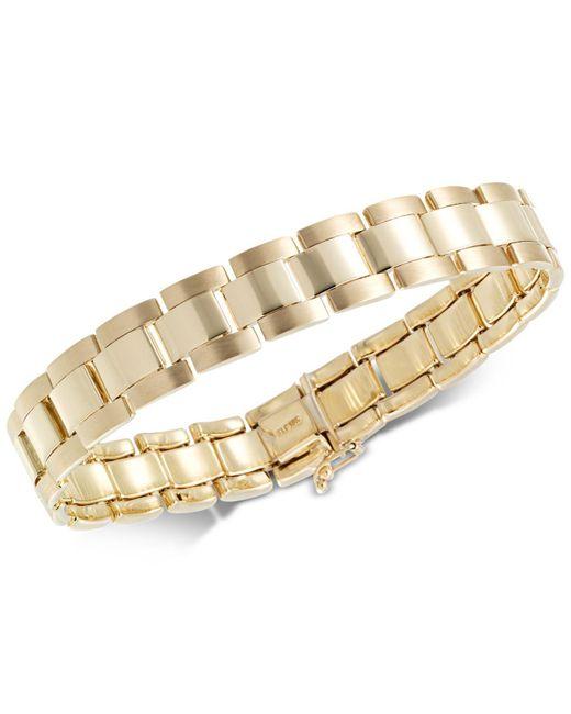 Macy's | Metallic Men's Satin Finish Link Bracelet In 10k Gold | Lyst
