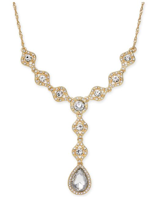Charter Club | Metallic Gold-tone Crystal Lariat Necklace | Lyst