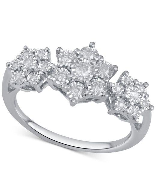 Macy's - Metallic Diamond Triple Cluster Ring (1/4 Ct. T.w.) In Sterling Silver - Lyst