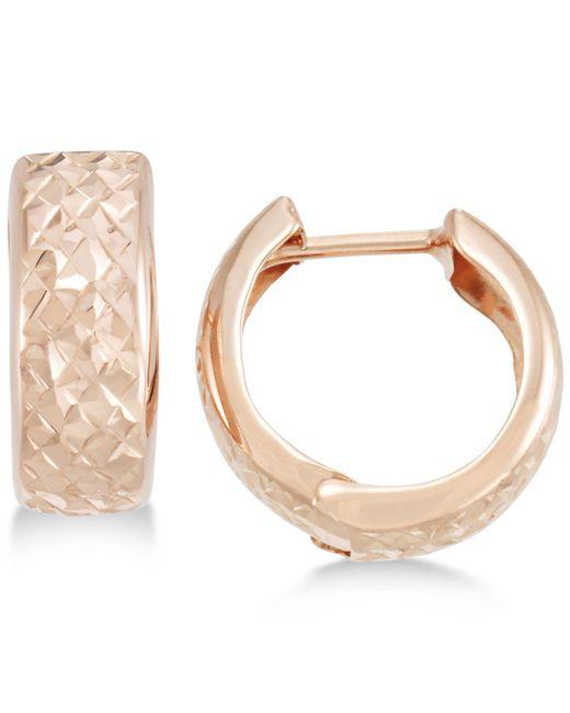 Macy's - Metallic Textured Wide Huggie Hoop Earrings - Lyst
