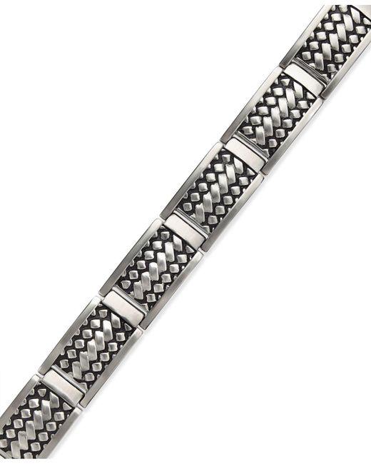Macy's - Multicolor Men's Woven Bracelet In Stainless Steel - Lyst
