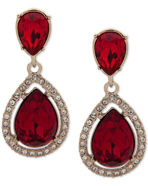 Givenchy - Red Stone & Crystal Teadrop Halo Drop Earrings - Lyst