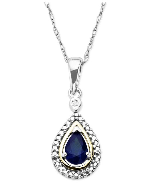 Macy's | Blue Sapphire (1/2 Ct. T.w.) And Diamond Accent Teardrop Pendant Necklace In 14k Gold And Sterling Silver | Lyst